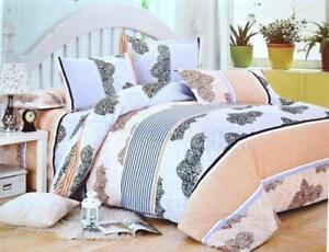 Todd Linen Tree Repeat Patern 3 Pcs Queen Set 1 Duvet Cover + 2 Pillow Case Bedding Set