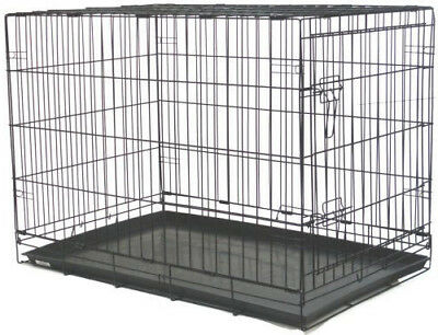 """NEW 30"""" Folding Pet Dog Cage Cat Crate Kennel With Plastic Pan Black-462"""