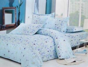 Todd Linen Purple Flower 3 Pcs Queen Set 1 Duvet Cover + 2 Pillow Case Bedding Set