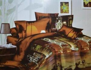 Todd Linens City Night Life 3 Pcs Queen Set 1 Duvet Cover + 2 Pillow Case Active Print Bedding Set
