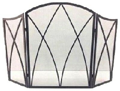 Fireplace Screen, Gothic Black Steel, 32 x 48-In.