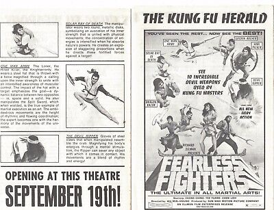 1970s ad brochure- Fearless Fighters (Kung Fu movie!)