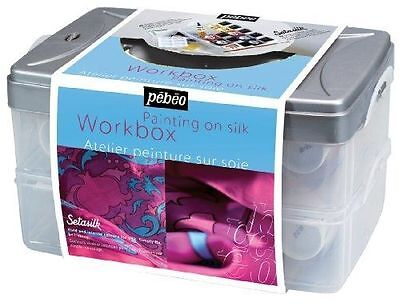Pebeo Setasilk Silk Painting Studio Workbox Set 10 x 45ml Colours- plus
