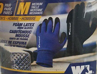 Wells Lamont Mens Foam Latex Work Gloves 9 Pairs - Size Medium - New
