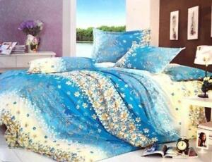 Todd Linen Floral Flower 3 Pcs Queen Set 1 Duvet Cover + 2 Pillow Case Bedding Set
