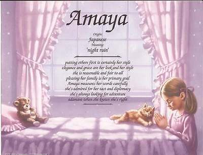 Personalized Name Meaning  Praying Girl  Gift For Child  Daughter  Granddaughter