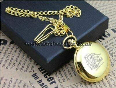 POCKET WATCH SAILING SHIP LOGO PWG8 GOLD