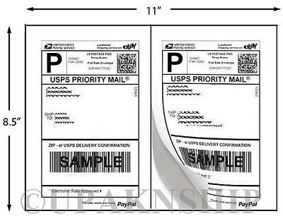 1000 Premium Paypal Postage Labels 2 Labels To Page 8.5x5.5 W Square Edges