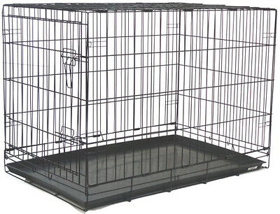 "Extra Large 48"" Wire Folding Pet Dog Cat Black Cage Kennel With Plastic Pan 803"
