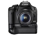 Canon 500d with 18-55mm Lens, battery grip and 4 batteries