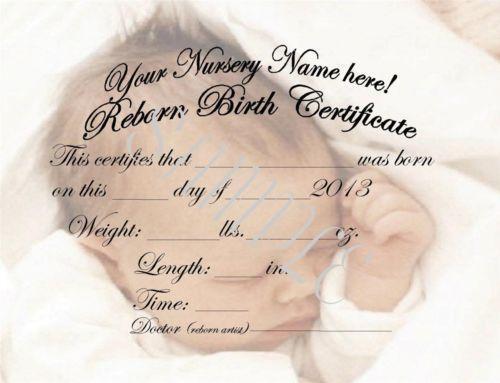 Reborn Birth Certificates Ebay
