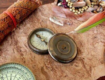 Brass Vintage Poem Pocket Compass Robert Frost Paper Weight Compass Instrument