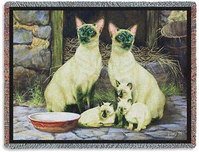 70x53 SIAMESE CAT Tapestry Afghan Throw Blanket