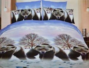 Bears Snow Land 3 Pcs Queen Set 1 Duvet Cover + 2 Pillow Case Active Print Bedding Set