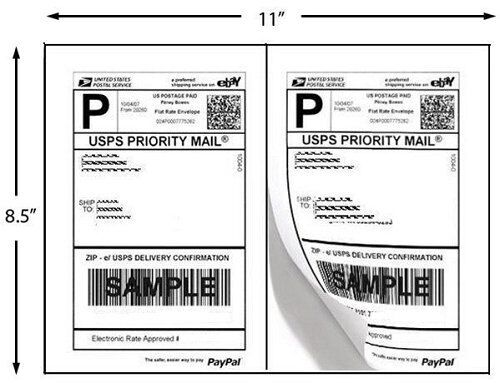 200 Half Sheet Self Adhesive Shipping Labels 8.5 X 5.5 inches Made in the U.S
