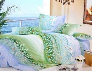 Todd Linen Green Leaves 3 Pcs Queen Set 1 Duvet Cover + 2 Pillow Case Bedding Set