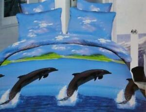 Todd Linens Sea Dolphin 3 Pcs Queen Set 1 Duvet Cover + 2 Pillow Case Active Print Bedding Set