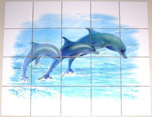 Model Dolphin Bathroom Wall Tile Mural  Tile Murals  Pinterest