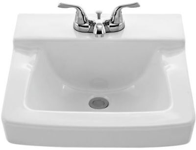 """AquaSource 4"""" Centerset White Wall-Mount Square Bathroom Sink with Overflow, NEW"""
