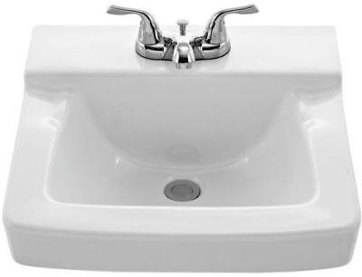 "AquaSource 4"" Centerset White Derange-Mount Square Bathroom Sink with Overflow, NEW"