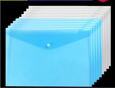 10pcs A4 Thicken Transparent File Holder Document Bag Holder Organizer Blue