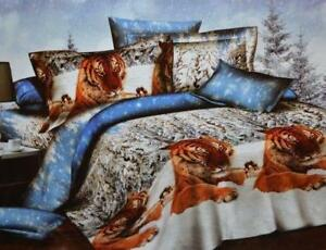 Todd Linens Classic Tiger Snow Friends 3 Pcs Queen Set 1 Duvet Cover + 2 Pillow Case Active Print Bedding Set