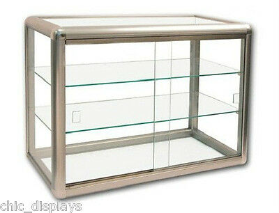 Glass Bronze Display Case Store Fixture Boutique Showcase Key Lock 3 Shelf