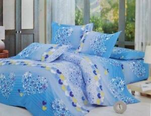 Todd Linen Heart Flower Pattern 3 Pcs Queen Set 1 Duvet Cover + 2 Pillow Case Bedding Set