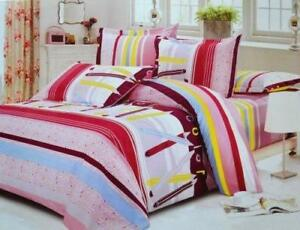 Todd Linen Pencil Multi Color Strips 3 Pcs Queen Set 1 Duvet Cover + 2 Pillow Case Bedding Set