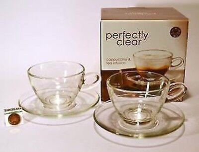Glas Café-stil Cappuccino Tee Tasse & Untertasse 300ml 2er Set Boxed UK Tee-set Boxed