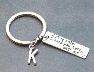 """Letter """"J"""" Schlüsselanhänger Key Chain """"Drive safe"""" Metall handmade"""