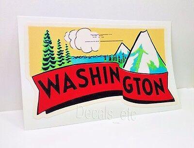 Washington State Vintage Style Travel Decal, Vinyl Sticker, luggage label