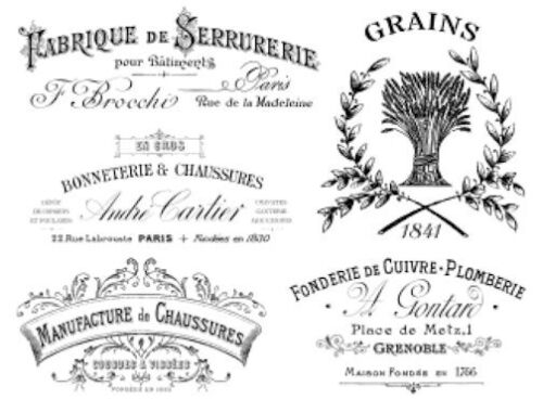 Vintage French Advertising Labels Furniture Transfers Waterslide Decals MIS571
