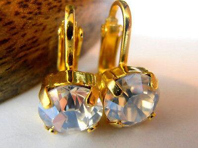 Clip On Earrings Swarovski Moonlight Crystal Non Pierced Gold Wedding Ear Clips