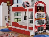 Kids Bunk Bed DOMINIC2 with drawer. Free mattresses and delivery - 160x80 cm