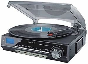 TechPlay ODC18-BS 3-Speed Turntable with SD USB, MP3 Encoding Sy