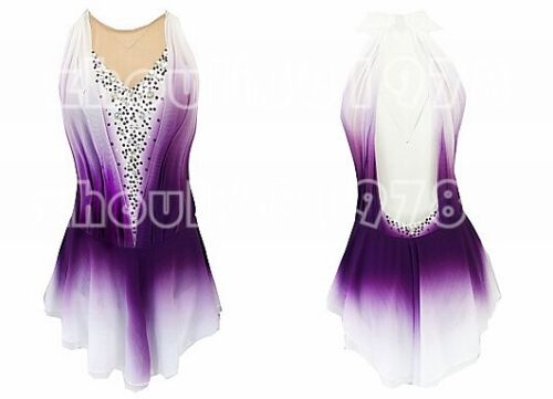 New Girls Women Ice Figure Skating Dress For Competition purple dyeing handmade
