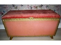 Vintage Pink Ottoman with Gold Trim