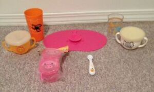 Toddler Snack Traps with Lids, Cups, Spoon & Rubber Mat