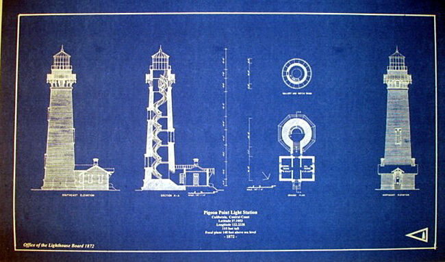 "Vintage California Lighthouse Pigeon Point  Blueprint Plan 14"" x 24"" (273)"