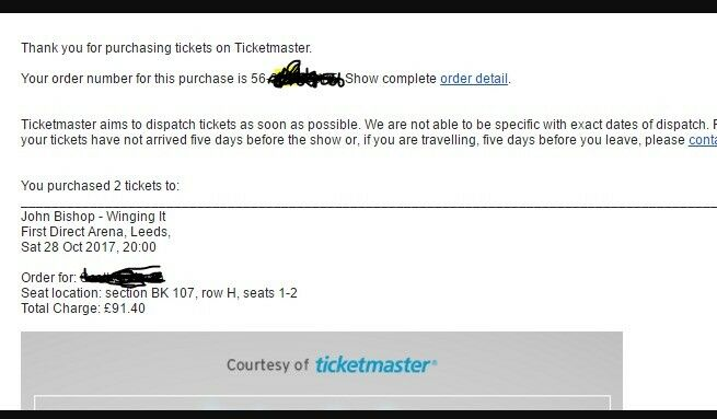 2 x John Bishop Tickets - Leeds Arena Sat 28th OCT