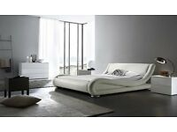 White leather curve bed - 1 year old offers accepted