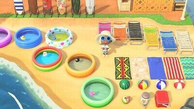 Animal Crossing New Horizons - Beach Surfboard Pool Chair Furniture Set - Fun!