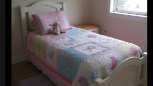 Hardwood Twin bed, Mattress and Box Spring