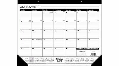 2019 Desk Pad Calendar Black- At-a-glance White Much Room For Notes