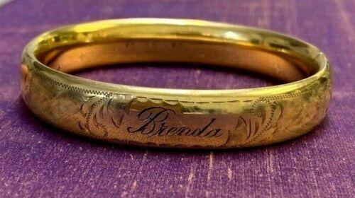 """Vintage  Filled Cuff Bangle Bracelet Name """"Brenda"""" Engraved"""