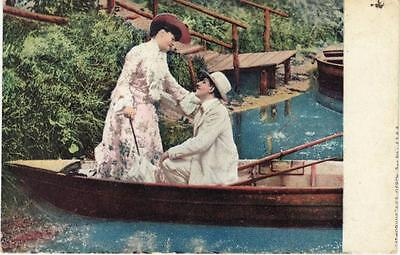 Antique ROMANTIC POSTCARD c1908 Man and Woman in Rowboat SPRINGFIELD, (Springfield Man And Woman)