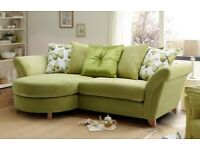 Dfs Light green corner sofa left or right and foot stool in good condition 3 years old