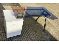 ***WAVE BLACK GLASS TOP DESKS*** PERFECT FOR WFH