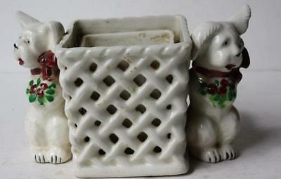 Puppy Dog Double Dogs Figure w-Woven Basket Planter Flower Vase Made in Japan